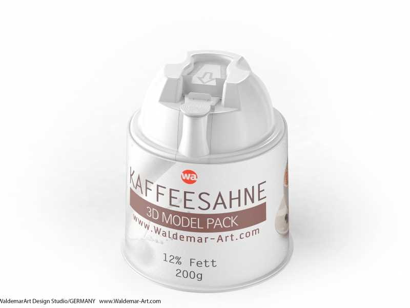 Kaffeesahne 200g packaging 3d model of a plastic package for a coffee cream