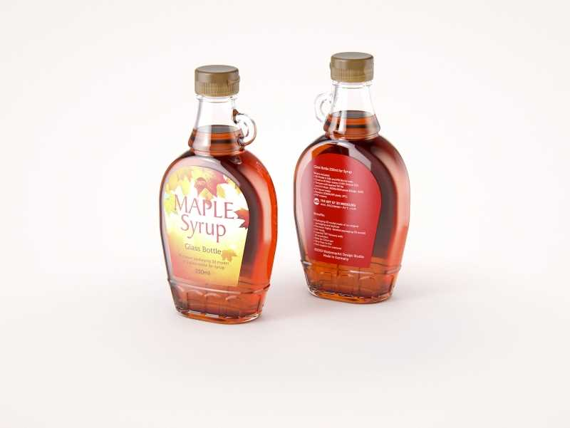 Maple Syrup Glass bottle 250ml 3D model pack (with a glass pattern)