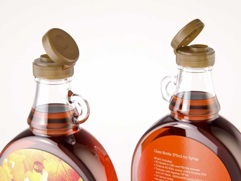 Maple Syrup Glass bottle 375ml 3D model pack (clear glass)