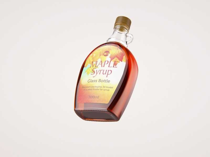 Maple Syrup Clear Glass bottle 500ml 3D model pack