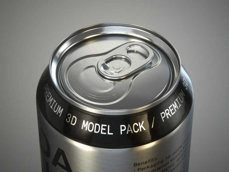 Rexam/Ball Metal Soda Can 350/355ml Premium packaging 3d model with PakTech handle