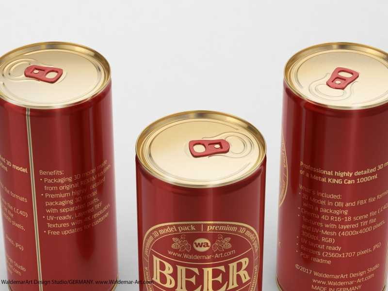 BALL (REXAM) Aluminum KING Size Beer Can 1000ml packaging 3D model