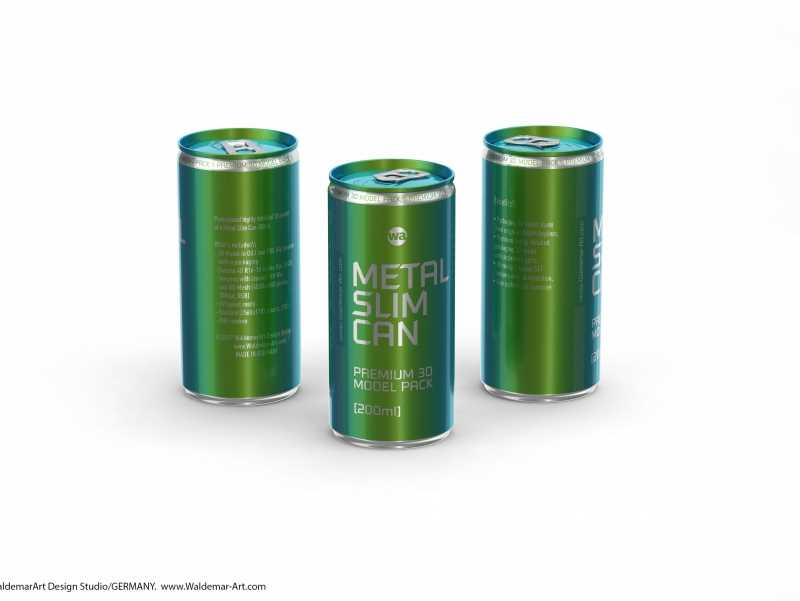 3D packaging model of (Rexam) Metal Slim Can 200ml