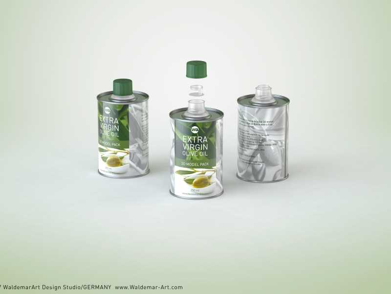Olive oil metal bottle 250ml packaging 3d model