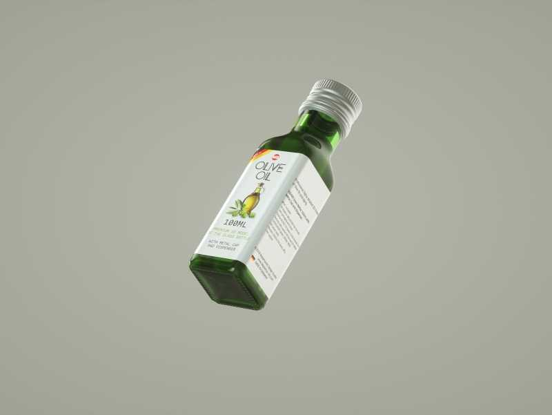 Square glass bottle 100ml for Olive oil 3D model pack