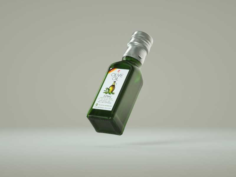 Olive oil square glass bottle 150ml Premium 3D model pack