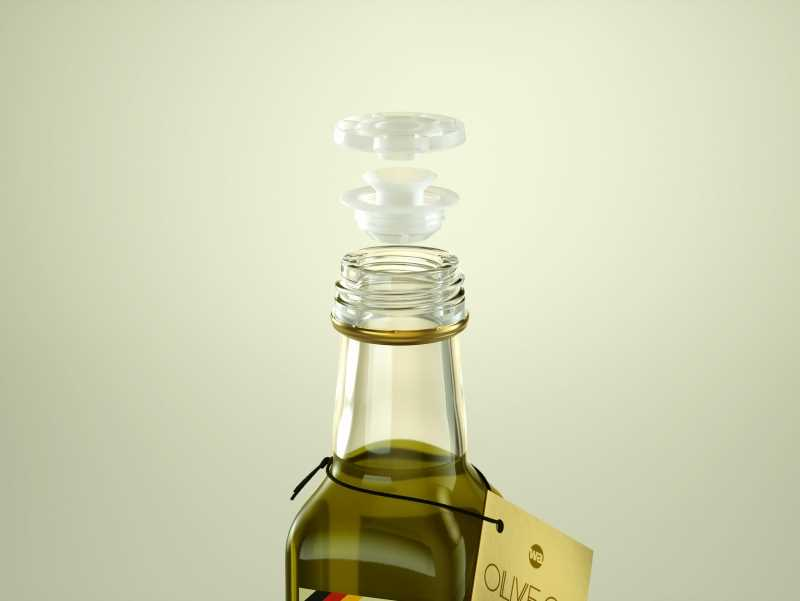 Olive oil square glass bottle 250ml Premium 3D model pack