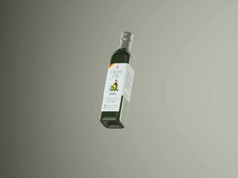 Premium packaging 3D model of the Olive Oil Square Glass Bottle 500ml