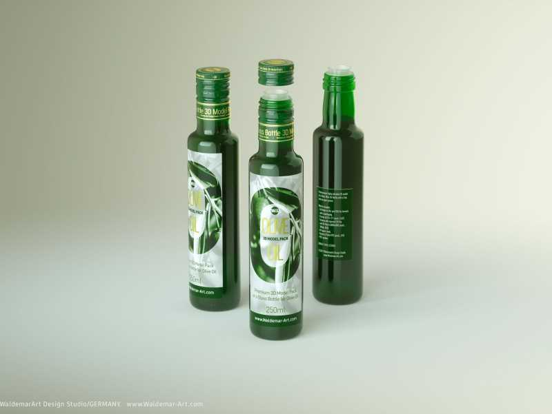 Packaging 3d model of Olive Oil Glass Bottle 250ml (Octane)
