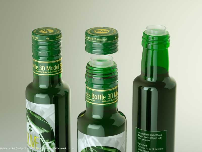 Packaging 3d model of Olive Oil Round Glass Bottle 250ml