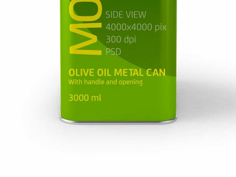 Packaging Mockup of an Olive Oil Metal Can 3Le Side View
