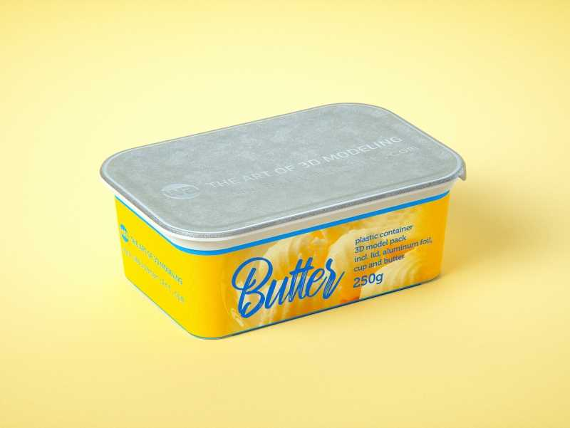 Butter Plastic Container Packagin 3D model pack 250g