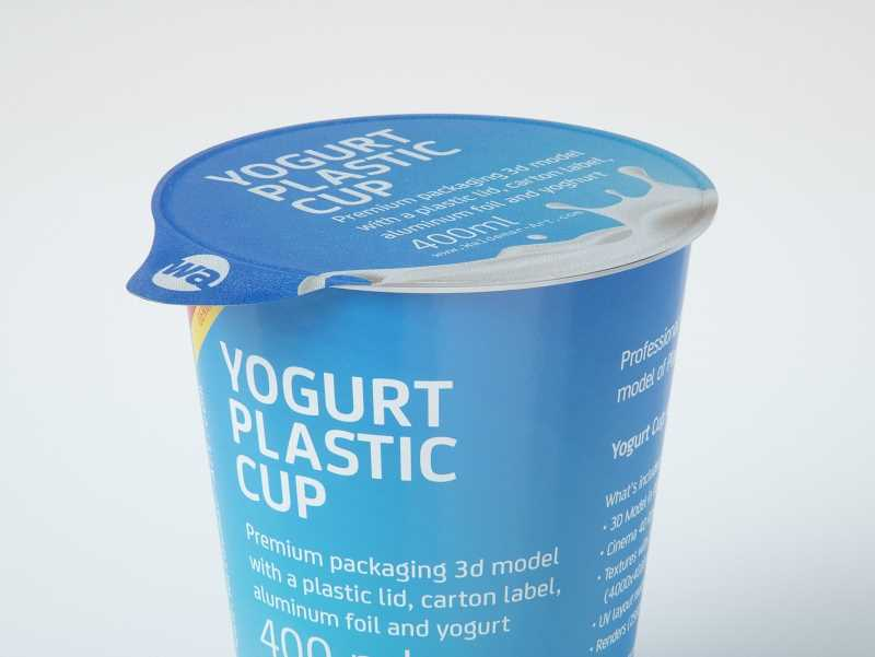 Yogurt Plastic Cup 400ml Premium packaging 3D model
