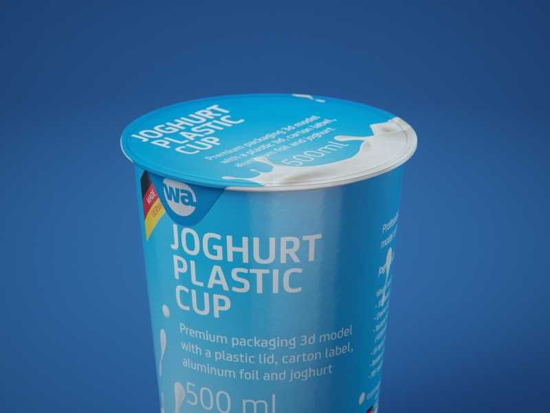 Yoghurt Plastic Cup 500ml Premium packaging 3D model