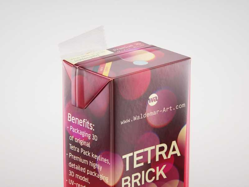 Tetra Pack Brick Slim Leaf 200ml with a Straw packaging 3D model pak