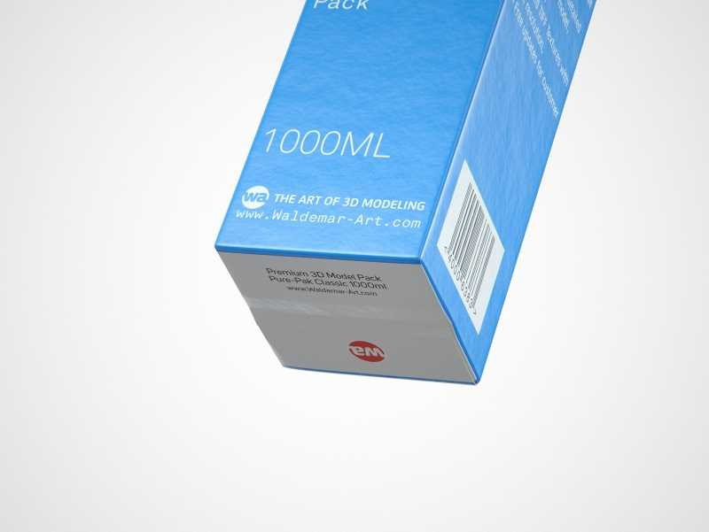 Elopak Pure-Pak Classic 1000ml (no opening) Premium carton packaging 3D model pack