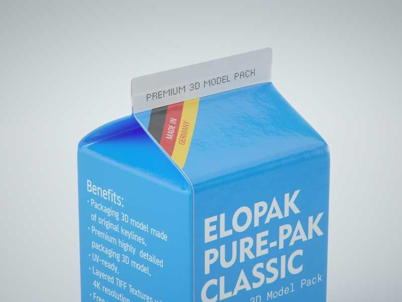 Elopak Pure-Pak Classic 500ml (no opening) Premium carton packaging 3D model pack
