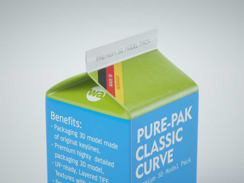 Elopak Pure-Pak Classic CURVE 500ml (no opening) Premium carton packaging 3D model pack