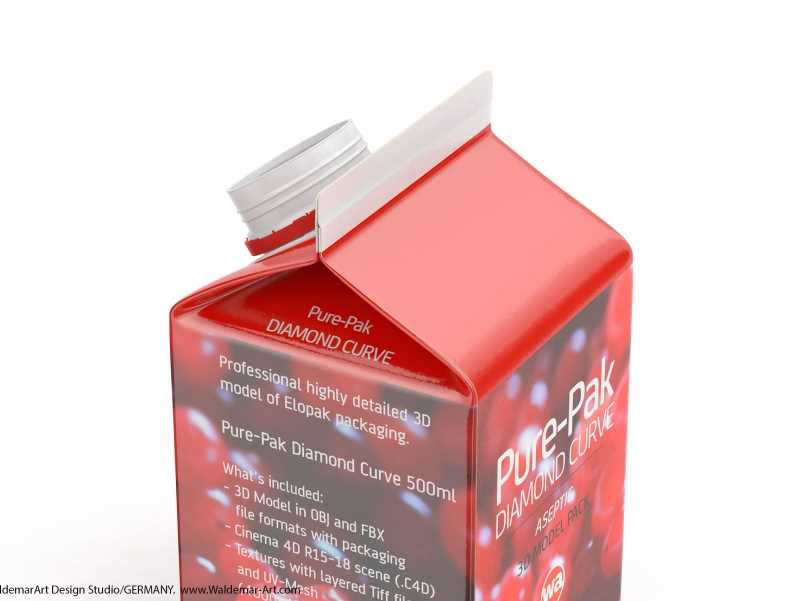 Elopak Pure-Pak Diamond-Curve Aseptic 500ml packaging 3D model