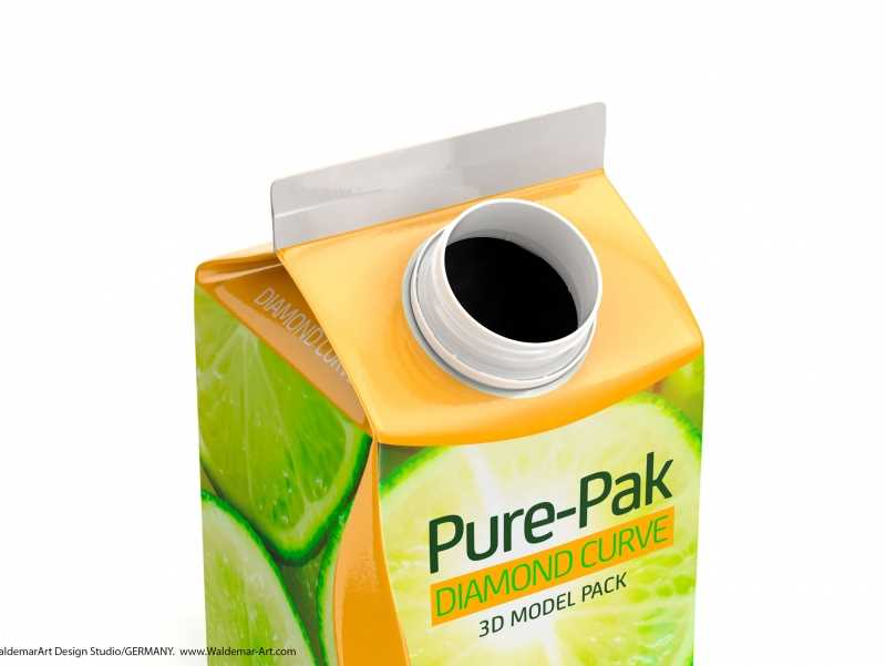 Elopak 3d model of Pure-Pak Diamond-Curve Fresh 500ml
