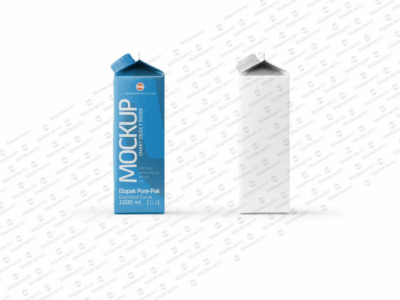Mockup of Elopak Pure-Pak Diamond-Curve 1000ml packaging - Side view