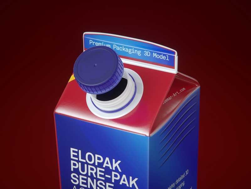 Elopak Pure-Pak Sense Aseptic 1000ml Carton packaging 3D model
