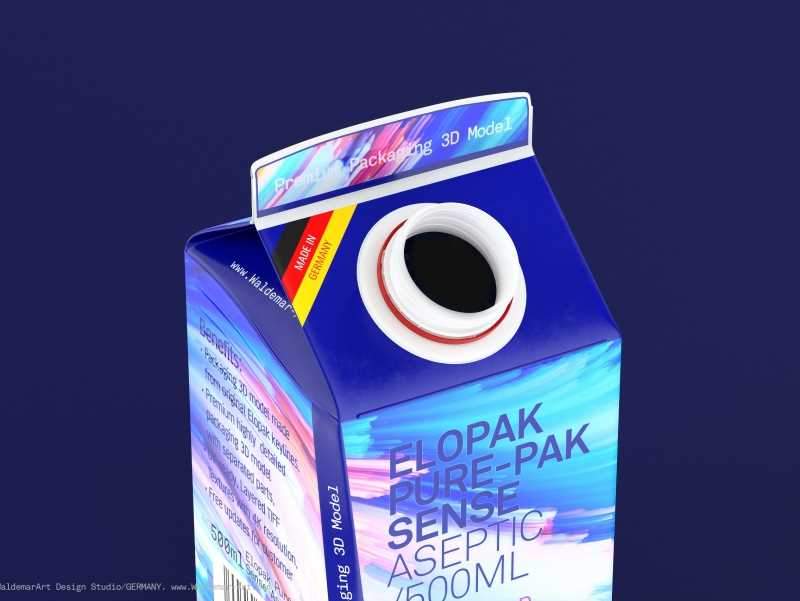 Elopak Pure-Pak Sense Aseptic 500ml Carton packaging 3D model