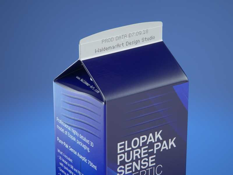 Elopak Pure-Pak Sense 750ml Premium carton packaging 3D model pack