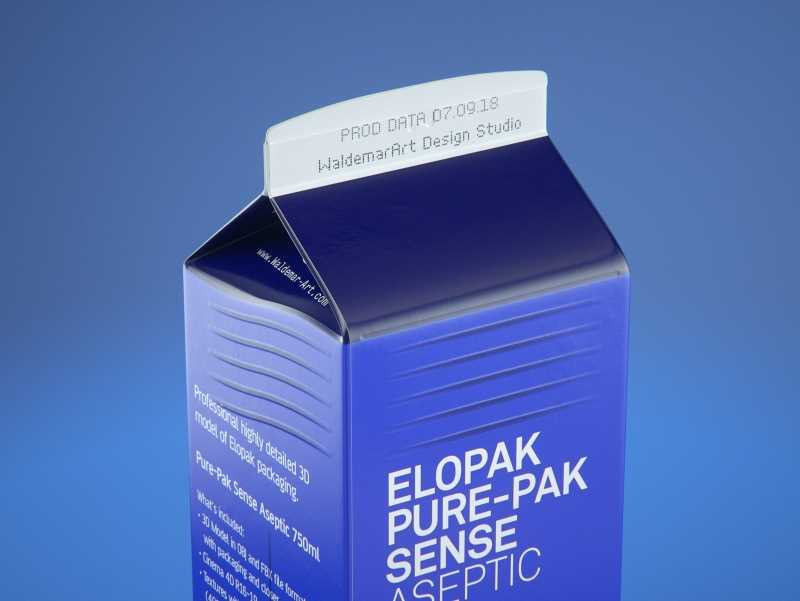 Elopak Pure-Pak Sense 750ml (no opening) Premium carton packaging 3D model pack