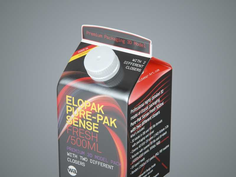 Elopak Pure-Pak Sense Fresh 500ml Carton packaging 3D model