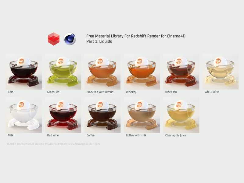 Free Redshift Material Pack for Cinema 4D - Part 1 - Liquids