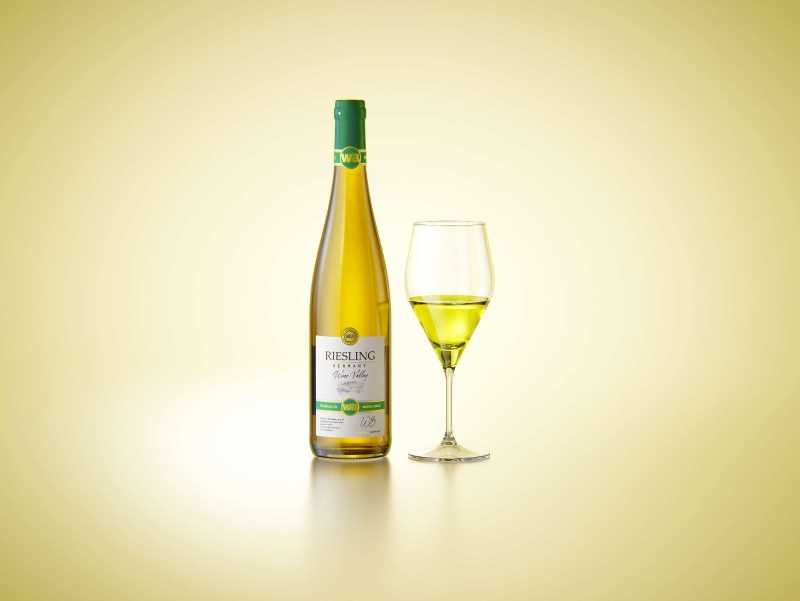 Riesling wine bottle 750ml with a cork and labels Premium 3D model pack