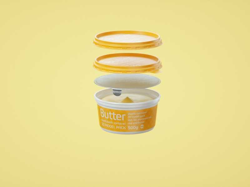 Butter Round Plastic Container 500g Packagin 3D model pack