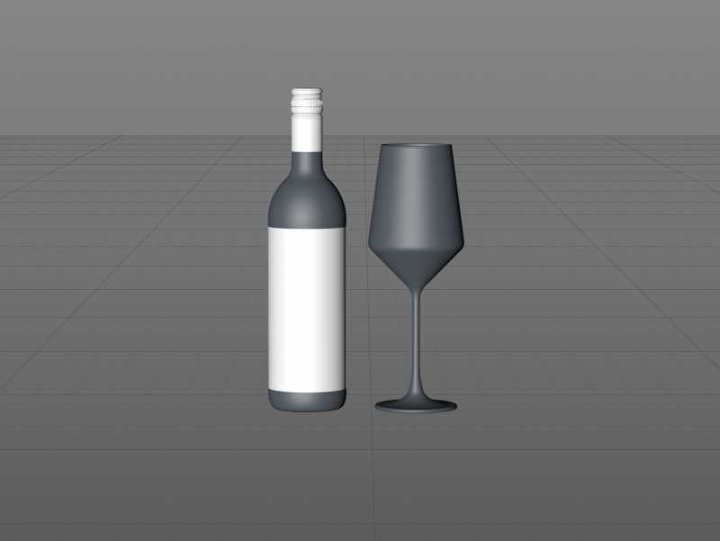 3D model of the Sauvignon Wine Standard Bottle 750ml with Screw Cap and glass of wine