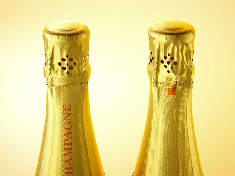 Champagne bottle 750ml 3d model for sparkling wine, with foil, labels, champagne cork and glass of sparkling wine