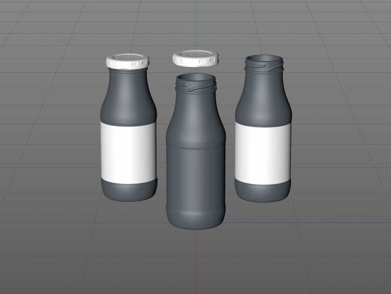 Smoothie/Juice Glass Bottle 250ml packaging 3D model pack