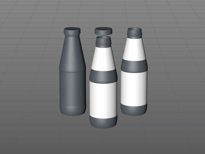 Syrup/Juice Glass Bottle 500ml packaging 3D model pack