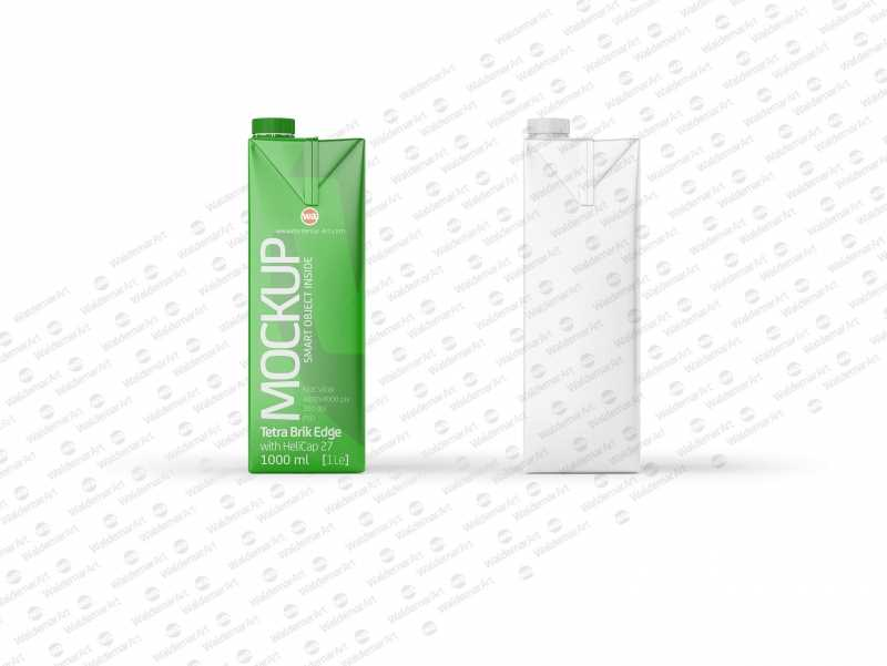 Mockup of Tetra Pack Brick 1000ml Square with HeliCap 27 - Side view