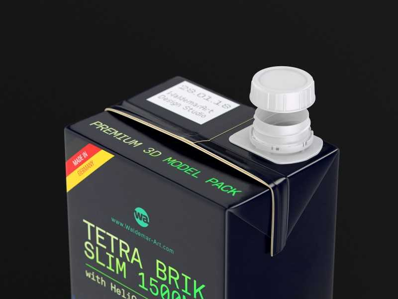 Tetra Pack Brick Slim 1500ml with HeliCap 23 Premium package 3D model pak