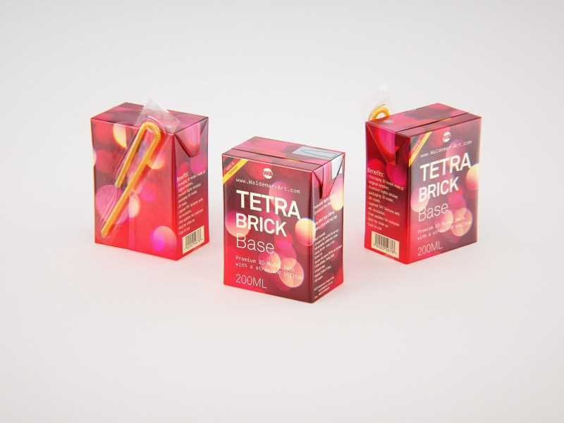 Tetra Pack Brick Base 200ml with Pull Tab and a packaged straw packaging 3d model pak