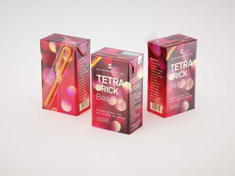 Tetra Brick Base 250ml with a Straw and Pull Tab packaging 3d model pak