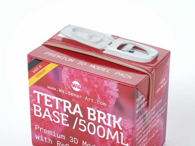Professional Packaging 3D model pak of Tetra Pack Brick Base 500ml with ReCap3