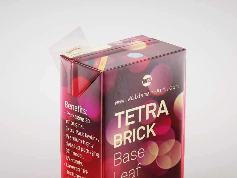 Tetra Brick Base Leaf 250ml with a Straw packaging 3d model pak