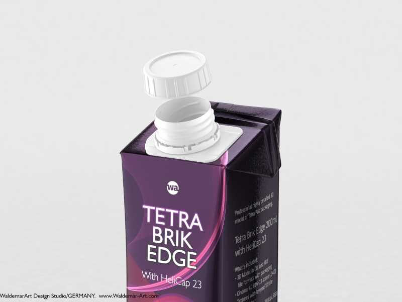 Tetra Pack Brick Edge 200ml 3D packaging model pak with HeliCap23 opening