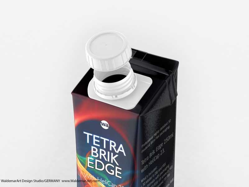 Tetra Pack Brick Edge 250ml 3D packaging model pak with HeliCap23 opening
