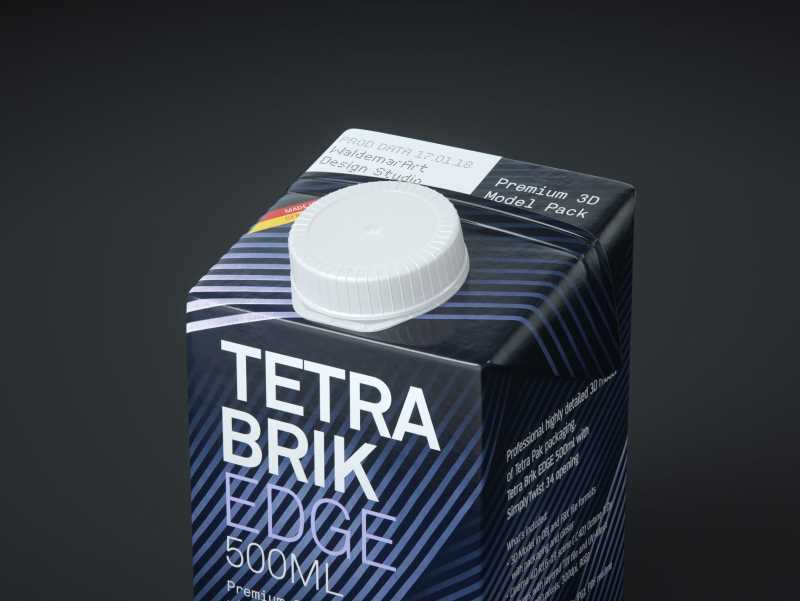 Tetra Pack Brick EDGE 500ml Premium packaging 3D model pak with SimplyTwist34 closer