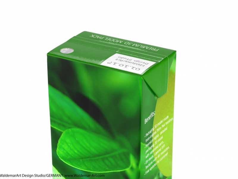 Tetra Pak Brik Slim 125ml with Pull Tab and a packaged straw packaging 3d model