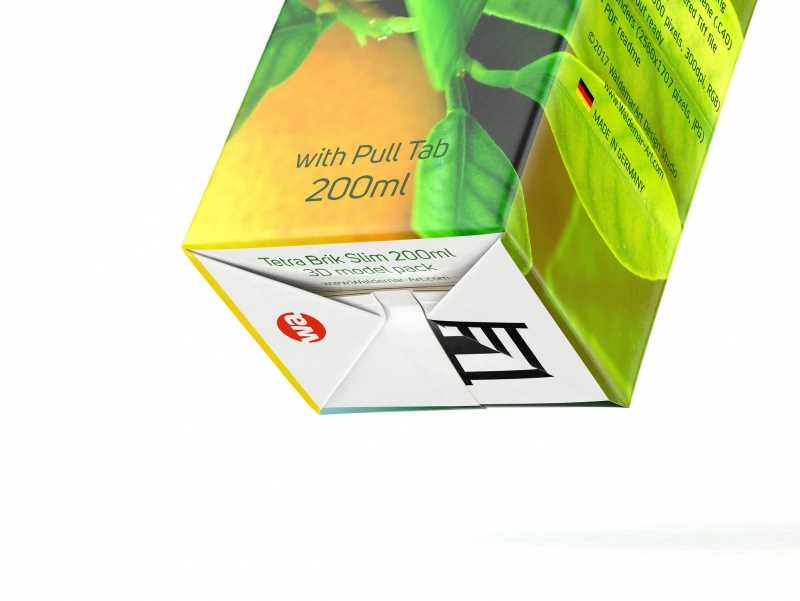 Tetra Pak Brik Slim 200ml with Pull Tab and a packaged straw package 3d model