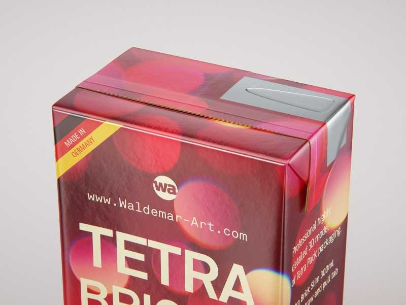 Tetra Pack Brick Slim 300ml with a Straw and Pull Tab packaging 3D model pak