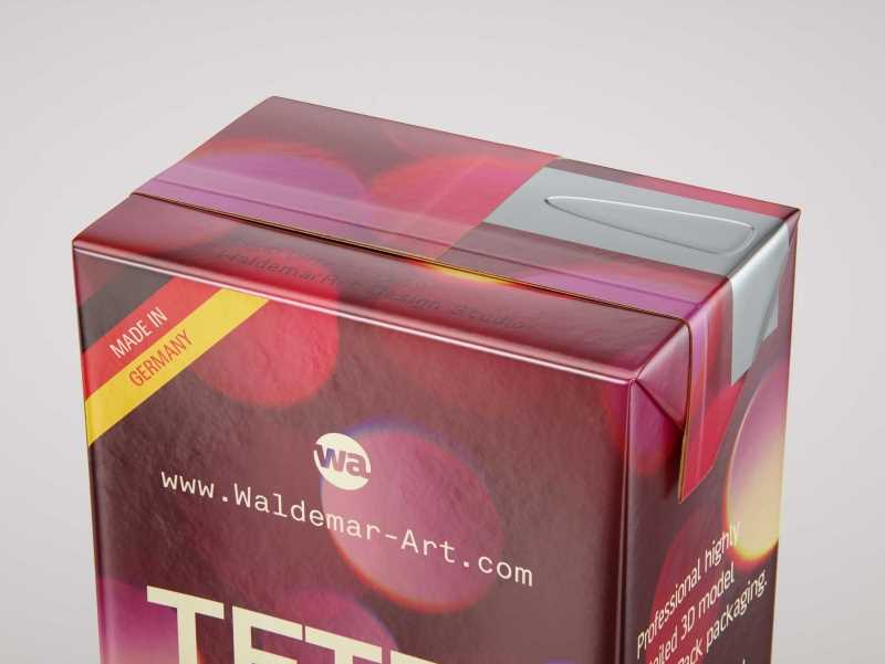 Tetra Pack Brick Slim 330ml with a Straw and Pull Tab packaging 3D model pak